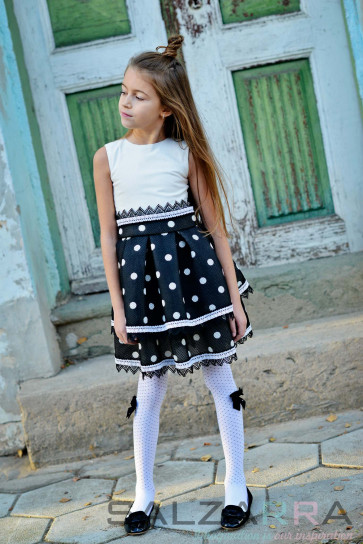 "Детска рокля ""Черно-бяла класика"" - 1"