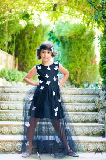"""Детска рокля """"Летящи пеперуди - Ч&Б"""" -2"""