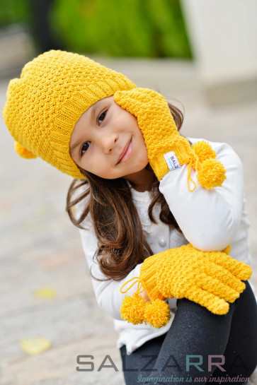 Детска шапка и ръкавици в жълто - 1