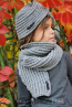 Hat-turban and scarf in grey - 2