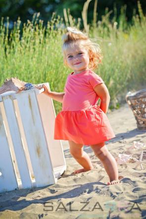 """Детска рокля-боди """"Балерина в коралово"""" - 1"""