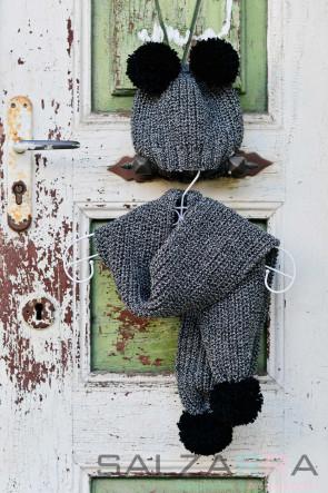 Детска шапка и шал в меланж - 1