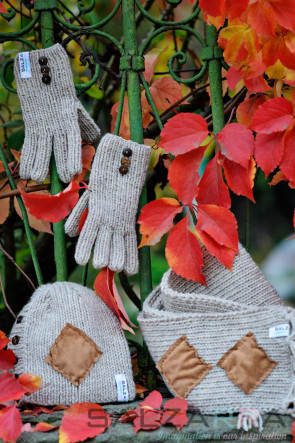 Детски ръкавички в кафяво и бежово
