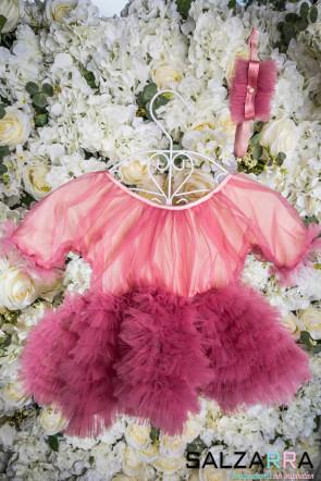 """Луксозна детска рокля """"БЕЛЛИСИМА"""" / ярко пепел от рози / 3"""