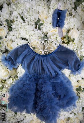 "Луксозна детска рокля ""БЕЛЛИСИМА"" /дънково синьо/ 3"