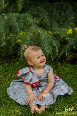 "Детска рокля ""КАРМЕН"" /сиво & червено/ 4"
