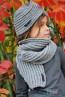 Детска шапка-тюрбан и шал в сиво - 2